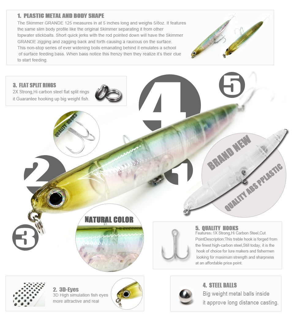 Bearking professional fishing lures 110mm 13g top water for Fishing bait and tackle