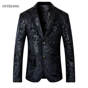 Jacket Blazers Suit Flower Slim Winter-Style Men's Casual Fashion New Autumn And M-5XL