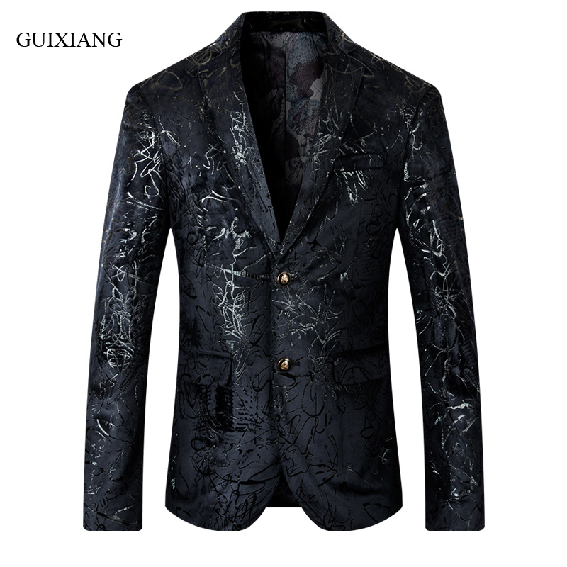 2019 new autumn and winter style men boutique blazers Euramerican fashion casual slim men s flower