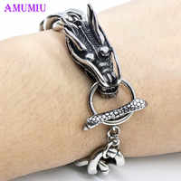 AMUMIU Cool Stainless Steel Dragon Bracelets For Men New Arrival Fashion Stainless Steel Bangle Men's Biker's Jewelry B005