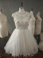 Short Sparkly Beads Sexy Cap Sleeve Open Back Lace Applique Homecoming Dresses 2014 Short Homecoming Dresses