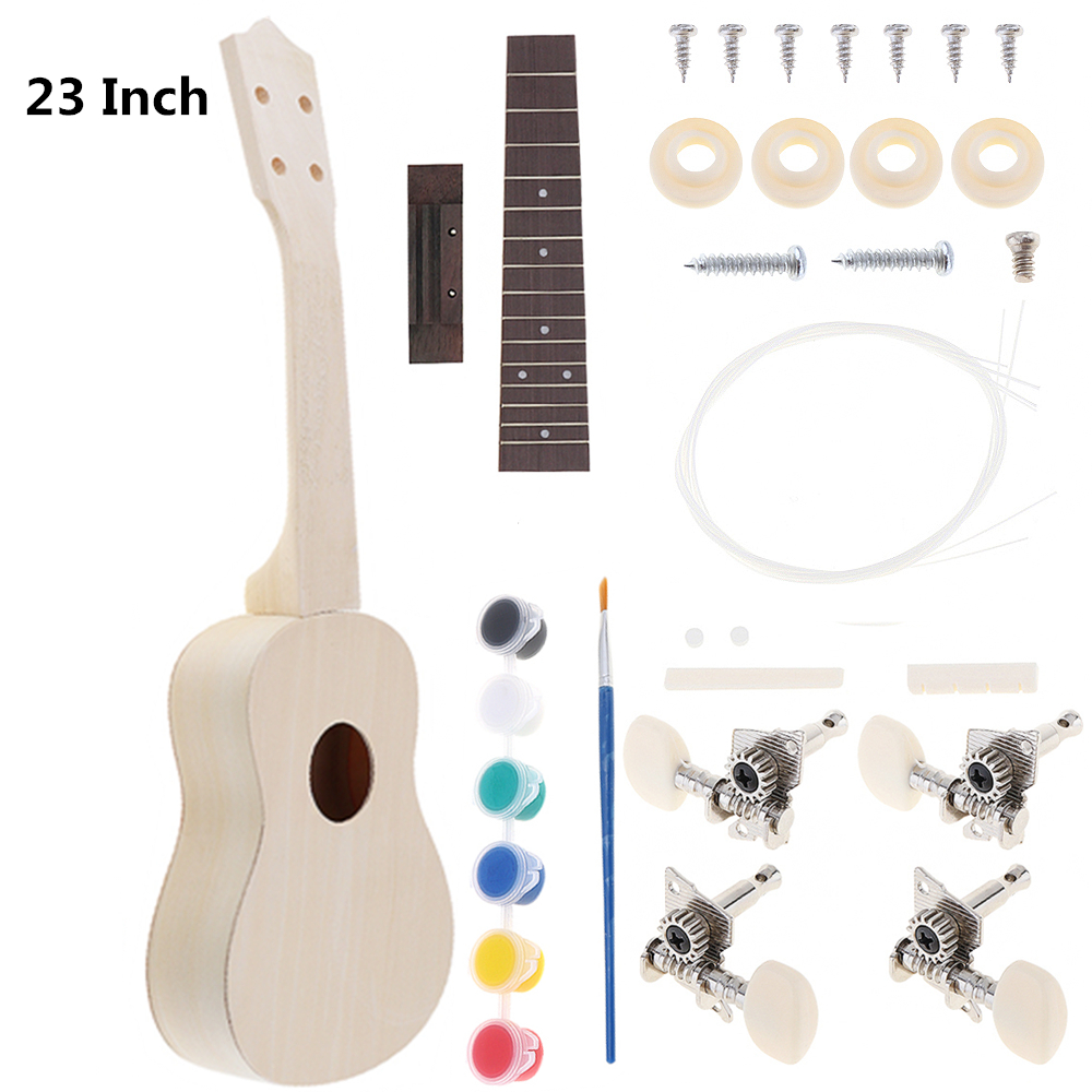 Sale 23 Inch Ukulele DIY Kit Rosewood Fingerboard Hawaii Guitar For Handwork Painting Parents-child Campaign