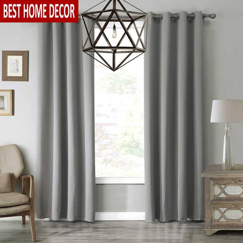 מודרני Blackout וילונות חלון טיפול Sss008 וילונות מוצק צבע Blackout וילונות לסלון חדר שינה