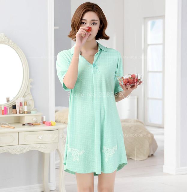 Promoción de la Marca Camisa Vestido de Dormir Camisón Sleepshirts Mujeres Vestido Camisones Sleepshirts Modal ropa de Dormir de Encaje Salón Verde