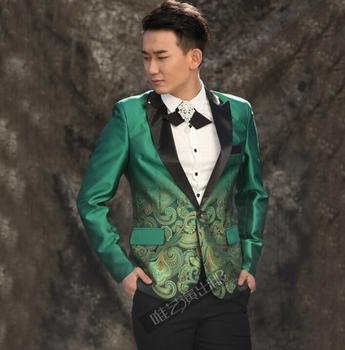 men suits designs high quality terno stage costumes for singers men printing blazer dance clothes jacket style dress punk green