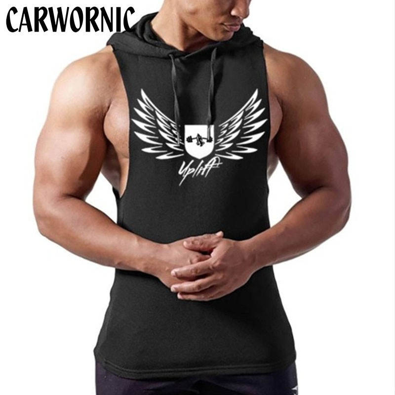 CARWORNIC Fitness Muscle Vest Singlets Men Quick Dry Breathable Summer Spring Vests Mens Gyms Bodybuilding Hoodie Tank Top