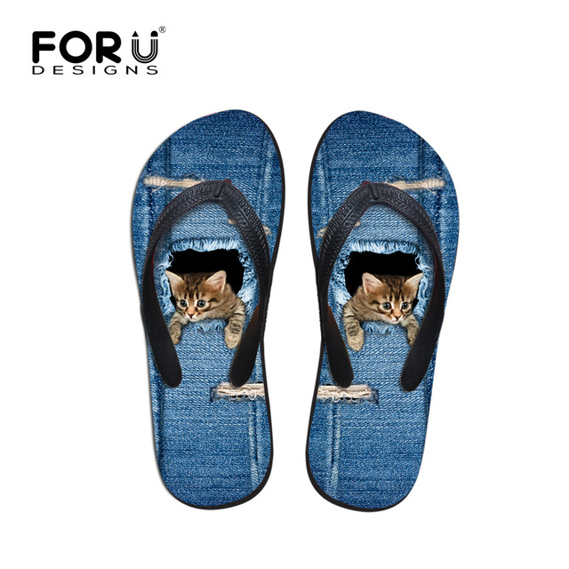 82aeca2f48ed FORUDESIGNS Summer Beach Flip Flops Women Fashion Denim Cat Printing  Slippers Cute Girls Cowboy Blue Female Ladies Sandals Shoes