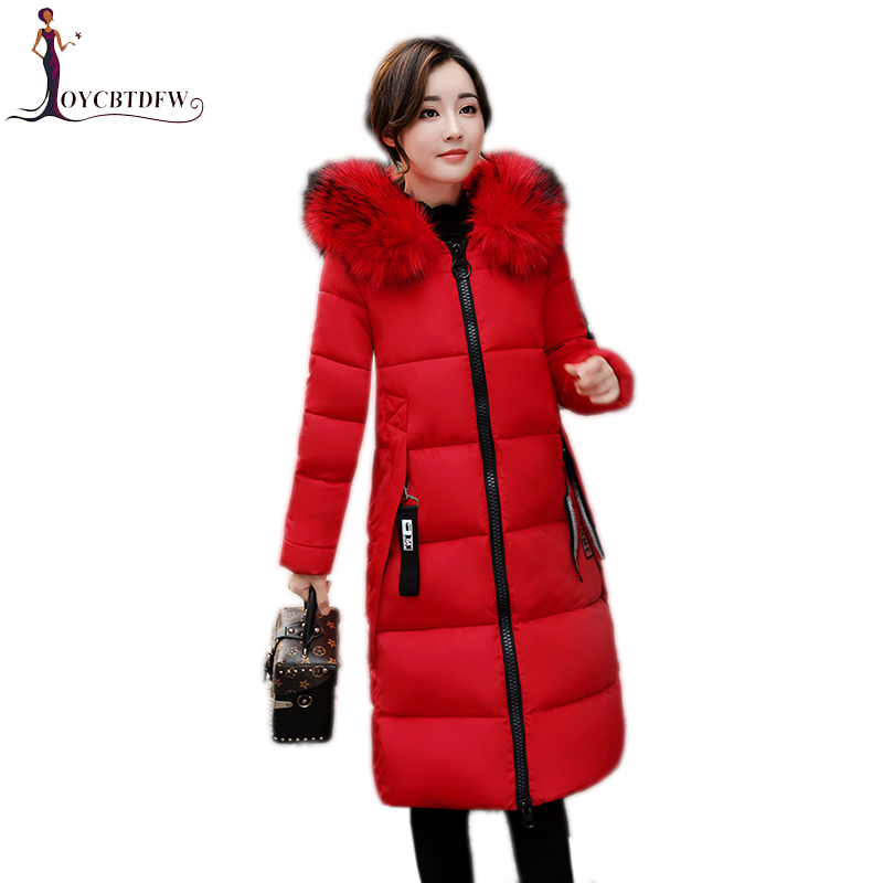 Winter women cotton jacket 2017 new pure color Large size outerwear mid-long Fur collar overcoat hooded warm female Parkas wy023 2015 new hot winter thicken warm woman down jacket coat parkas outerwear hooded splice mid long plus size 3xxxl luxury cold