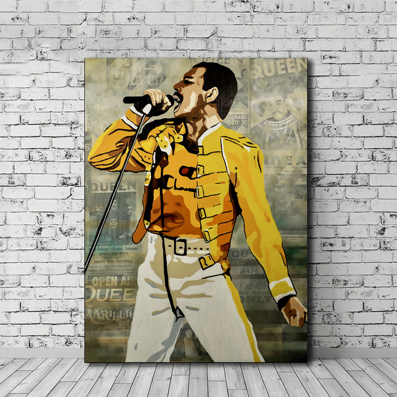 Freddies Mercuries Queen Band Leader Wallpaper Wall Art Canvas Posters Prints Painting Pictures Modern Bedroom Home Decor