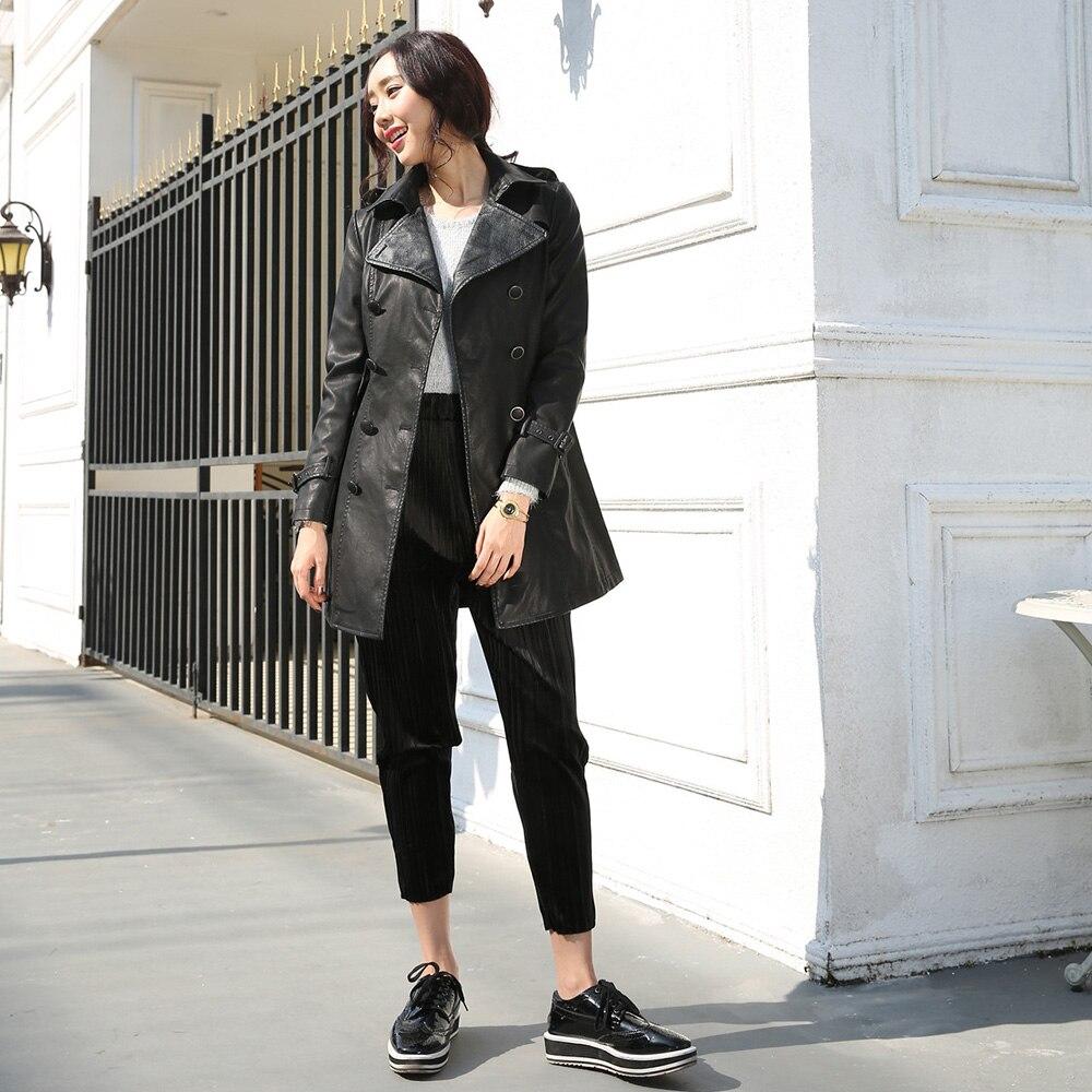 Women Leather Jacket Long PU Black Slim Waist Belt Lapel Neck Button Classical Street Chic long Coat Female Jacket Outwear New