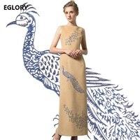 Hohe Qualität Neue Marke Party Frauen Langes Kleid Bleistift Damen Luxus Phönix Stickerei Blumen Zurück Cut Split Sleeveless Kleid 4XL
