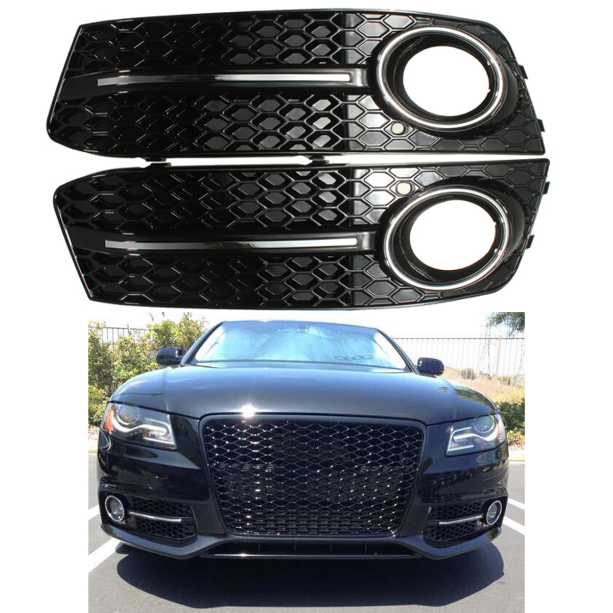 زوج المصد الأمامي لمعان أسود الضباب غطاء خفيف الشوايات لأودي A4 B8 ل VW 2009 2010 2011 تصفيف السيارة