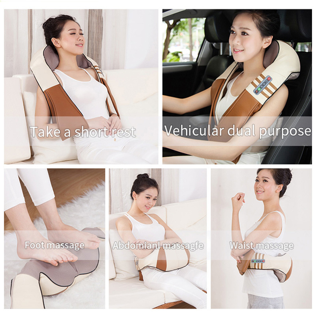(with Gift Box)JinKaiRui U Shape Electrical Shiatsu Back Neck Shoulder Body Massager Infrared Heated Kneading Car/Home Massagem 4