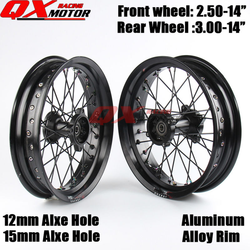 14 Inch Dirt Pit bike Off Road Front Rear Wheels Set 2.50-143.00-14 Alloy Rim For KAYO BSE Apollo Xmotos Racing Supermoto huayang kayo 2016 t2 t4 general off road motorcycle headlight dirt pit bike head lamp light page 9