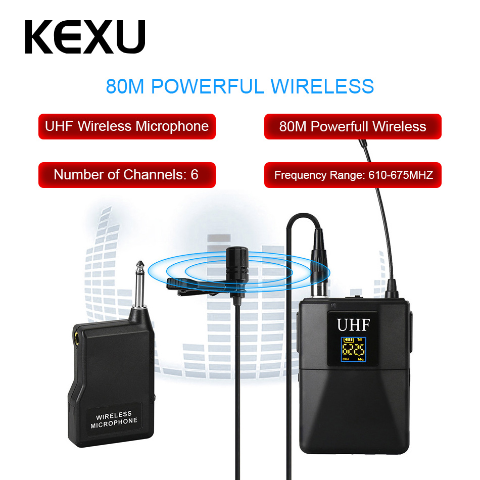 KEXU Professional UHF Wireless Microphone System Lavalier Lapel Mic Receiver + Transmitter for Camcorder Recorder Microphone free shipping 122 g2 professional uhf wireless microphone wireless system with bodypack transmitter lapel lavalier clip mic