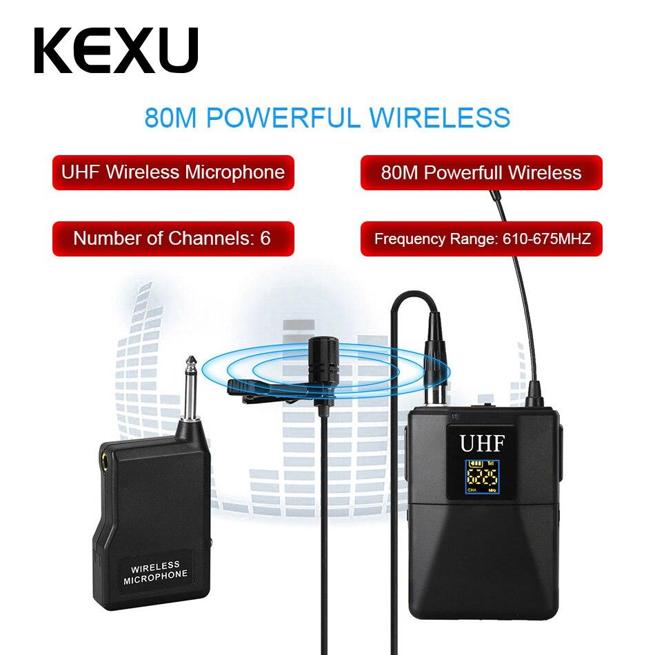 KEXU Professionelle UHF Wireless Mikrofon System Lavalier Revers Mic Empfänger + Sender für Camcorder Recorder Mikrofon