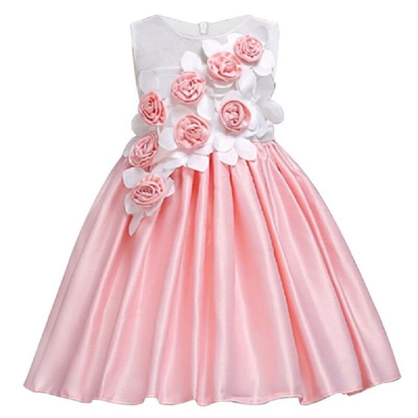 Christmas Children Party Vestidos Rose   Flower     Girls     Dresses   for New Year Party Baby   Girls   Clothes Satin Princess Wedding   Dress