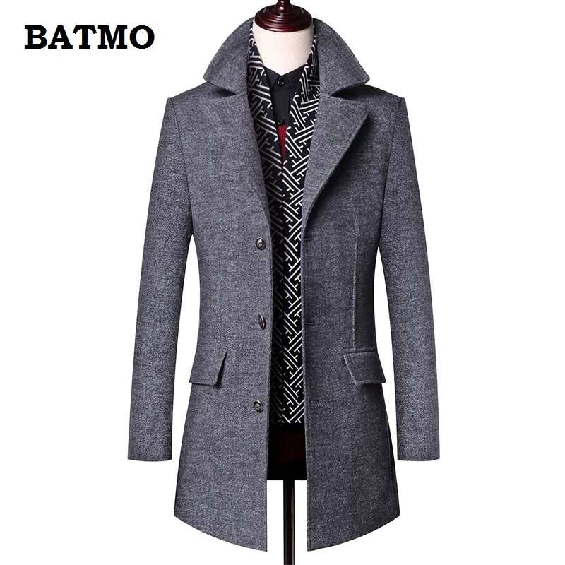 BATMO 2018 new arrival winter high quality wool thicked trench coat men men s gray wool
