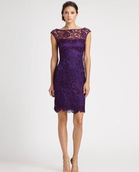 Фиолетовое прозрачное «Лодочка» с тюлем, кружевное короткое платье для мамы, платья с коротким рукавом, облегающее вечернее платье, платья для матери невесты - Цвет: Фиолетовый