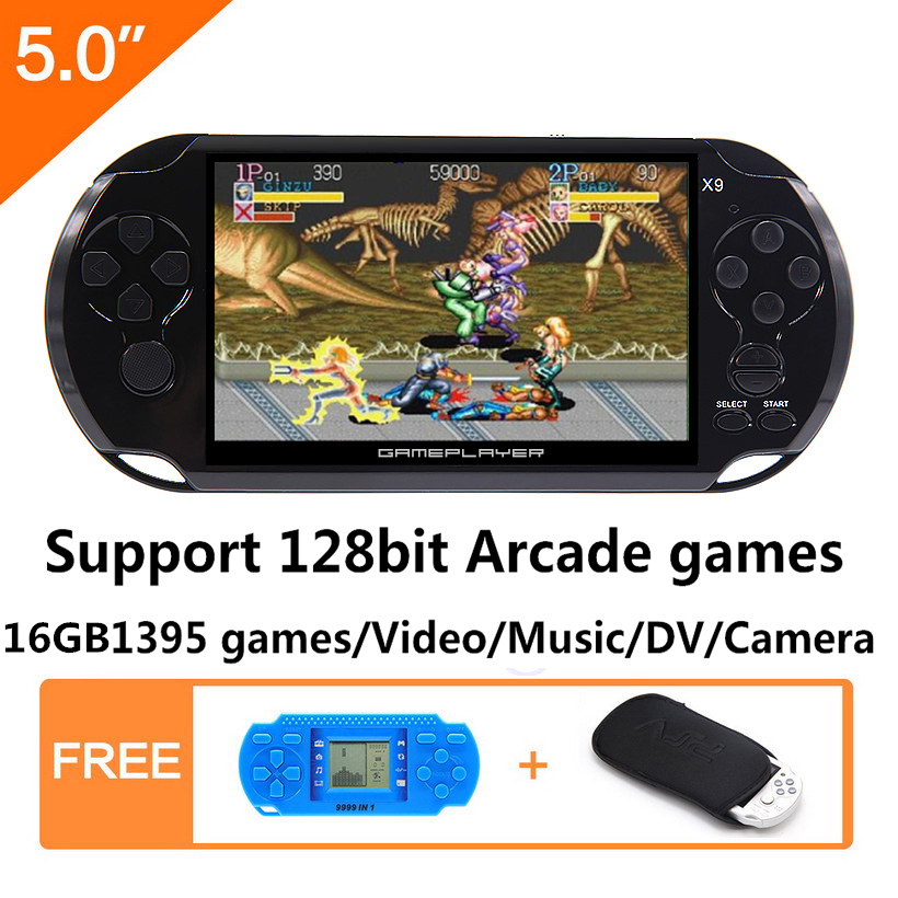 16 GB 128Bit consola de juegos de mano 5,0 pulgadas MP4 consola Retro Juegos incorporados 1395 juegos para arcade/ gba/gbc/snes/fc/smd