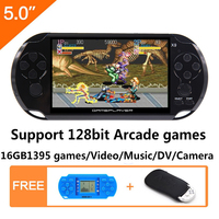16GB 128Bit Handheld Game Console 5.0 inch MP4 Video Game Console Retro Games built in 1395 games for arcade/gba/gbc/snes/fc/smd