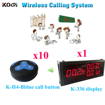 Paging System Wireless Charger Restaurant Smart Wireless Buzzer(1pcs display+10pcs call button)