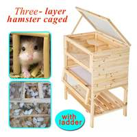 Wooden 3 Tiers Hamster Cage Wood House Pet Mouse Small Animals Rats Exercise Home