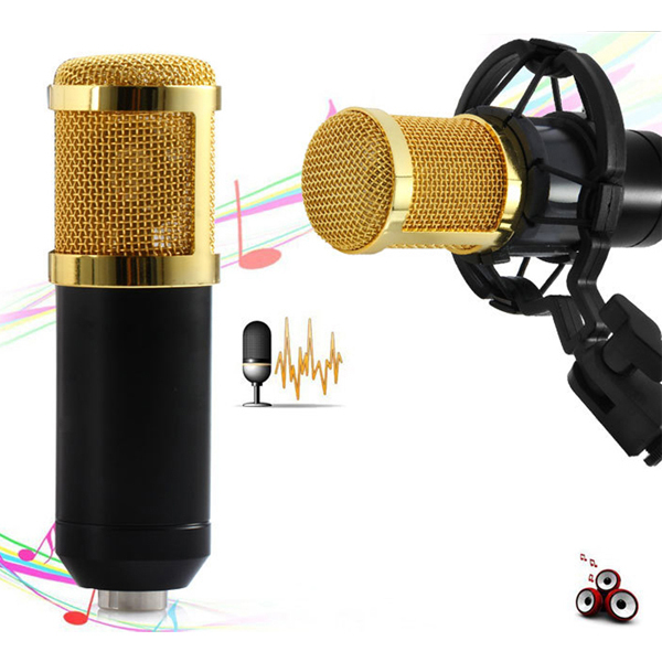 BM-800 High Quality Professional Condenser Sound Recording Microphone with Shock Mount for Radio Braodcasting Singing Black