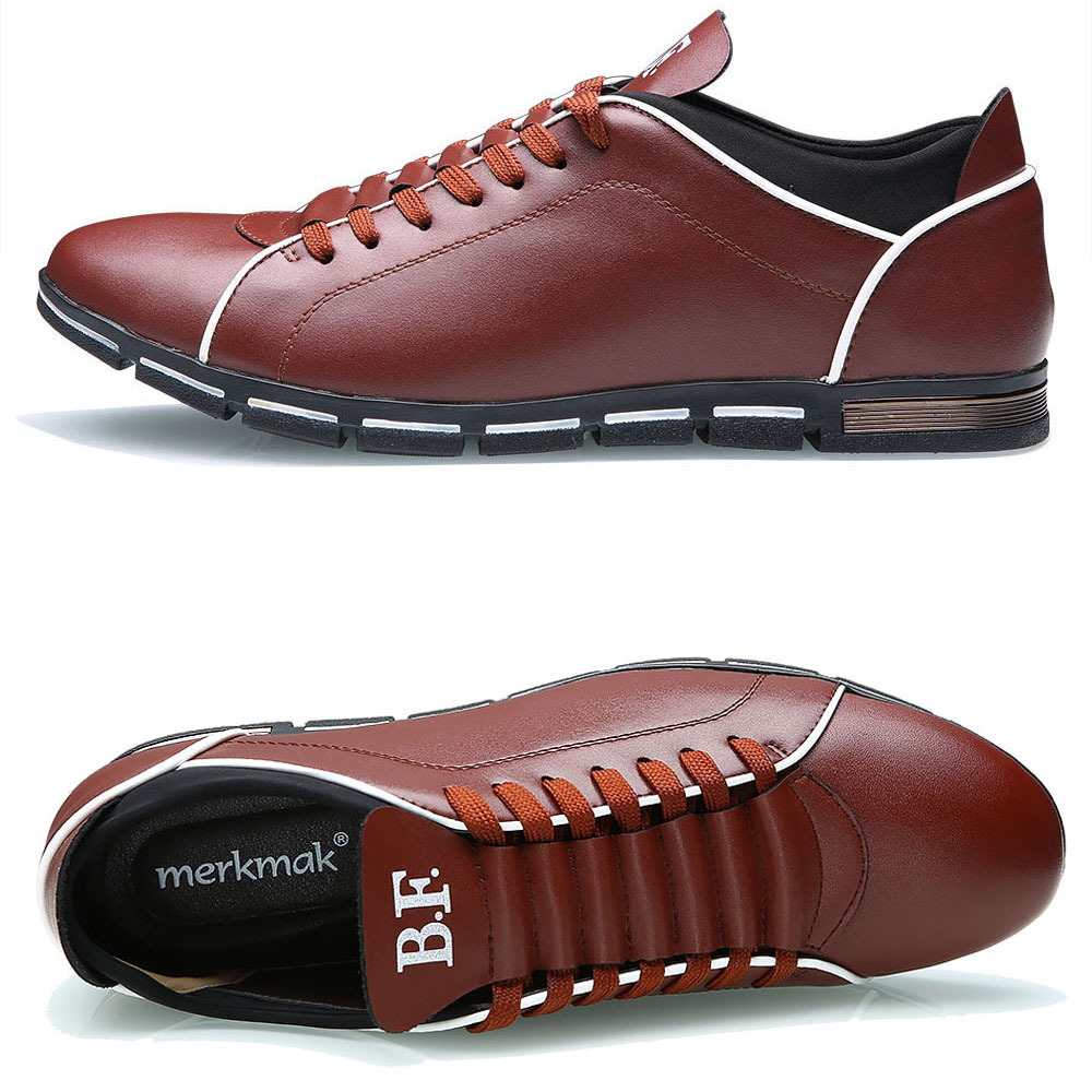 Merkmak Big Size 38 48 Men Casual Shoes Fashion Leather Shoes for Men Summer Men 39 s Flat Shoes Dropshipping in Men 39 s Casual Shoes from Shoes