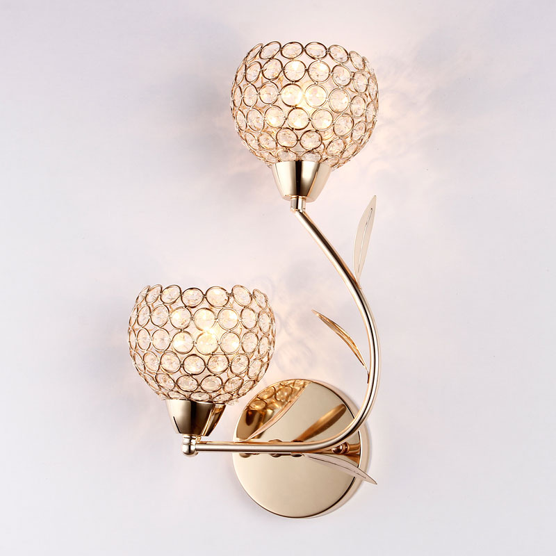 European Style Crystal Lamp Modern Brief Bedroom Wall Light In Living Room E14 Led Bulb Source