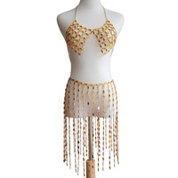 European Style Ladies Resin Rhinestone Bra Breast Chain Necklace Fashion Sexy Summer Beach Skirt Body Chain Set Tassel Jewelry