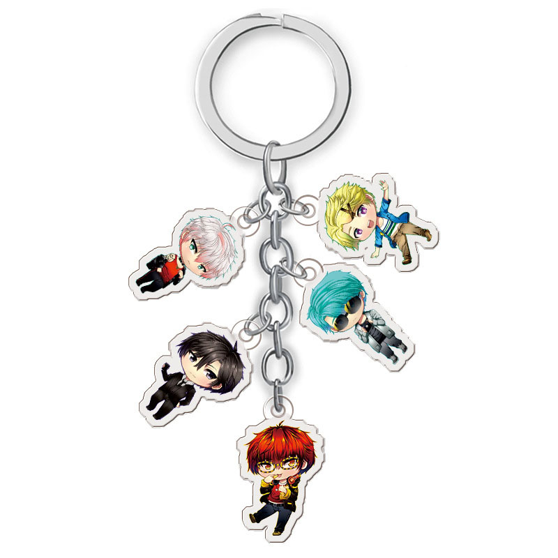 Anime Mystic Messenger Keychain Yoosung Jumin Unknown Zen Transparent Pendant Key Ring