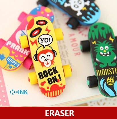 20pcs / Lot Novelty Cartoon Skateboard Shaped Eraser , Skate Board Pencil Eraser For School Kids