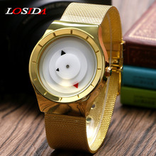 Losida Brand Fashion Triangle Dial Men Ladies Turntable Analog Women Mesh Stainless Steel Band Strap Simple Shock Wrist Watch