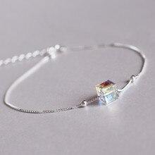 925 Sterling Silver Bracelet Female Aurora Sugar Austria Crystal Simple Fashion