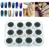 LULAA 12 Colors Nail Glitter Powder Shinning Nail Mirror Powder Makeup Art DIY Chrome Pigment With