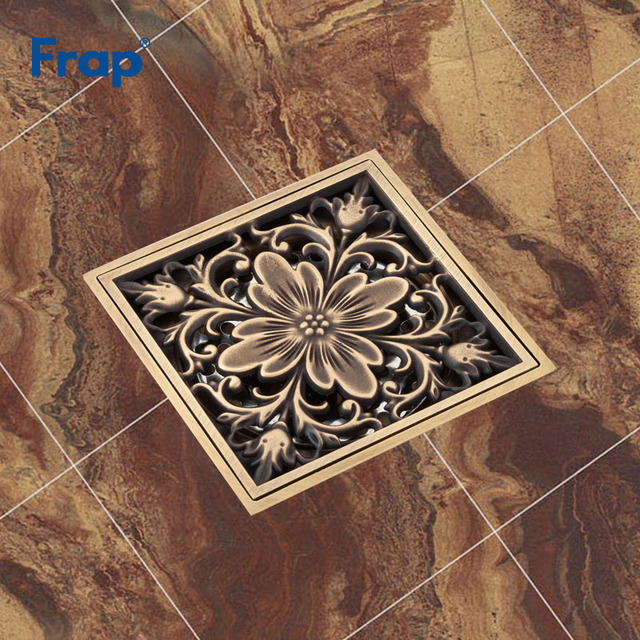 Frap Shower Drains 10 9 5cm Square Bath Strainer Hair Antique Br Carved Bathroom Floor