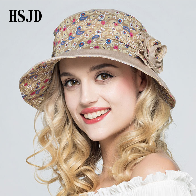 e5f470bdf1a Female Foldable Small Floral Cloth Sun Hat Wide Brim Bucket Cap 2018 New Summer  Flower Anti UV Beach Caps Women Fisherman s hat-in Sun Hats from Apparel ...