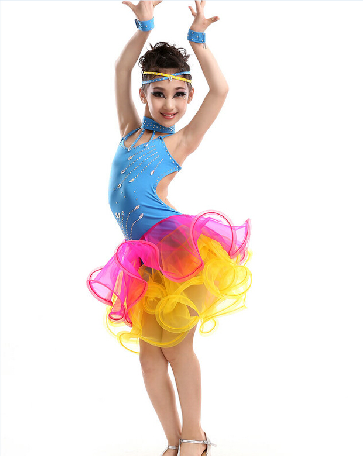 Latin Dance Dress Children Competition Rumba/Cha Cha/Tango Dresses Diamond Girls Dance Dress Kids Ballroom Dance Salsa Costumes