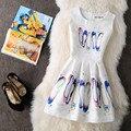 Новый A-Line dress для Женщин подростков бабочка печати рукавов Дамы принцесса party dress 2017 Женщин dress vestidos