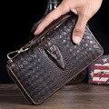 Misfits Vintage Men's Genuine Leather Wallet Male 100% Cow Skin Retro Zipper Clutch For Phone Crocodile Knitting Purse MZ4045