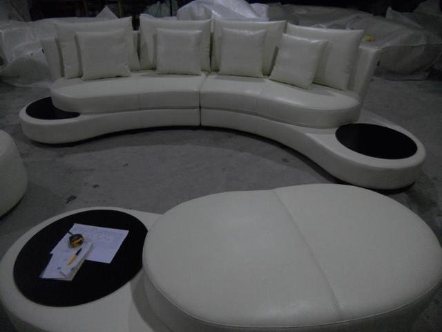 Unique real cow Leather Sofa Living Room Sofa Set Modern Leather Sofa Foshan  home furniture arc shape modern style