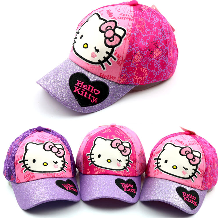 Children's bend along the cap Cute baby boy and girl cartoon hello kitty KT cat cartoon casual outdoor baseball caps Snapback чашка hello kitty kt