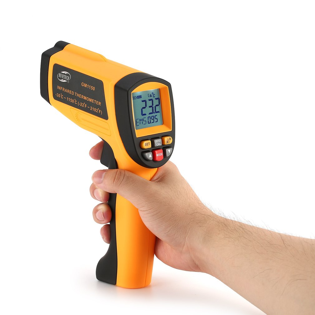 BENETECH GM1150 Infrared Thermometer Non Contact Infrared Temperature Pyrometer IR Laser Point Gun -30~1150 Degree Wholesale benetech gm1650 infrared thermometer non contact pyrometer ir laser point gun with backlight 200 1650 degree for industial use