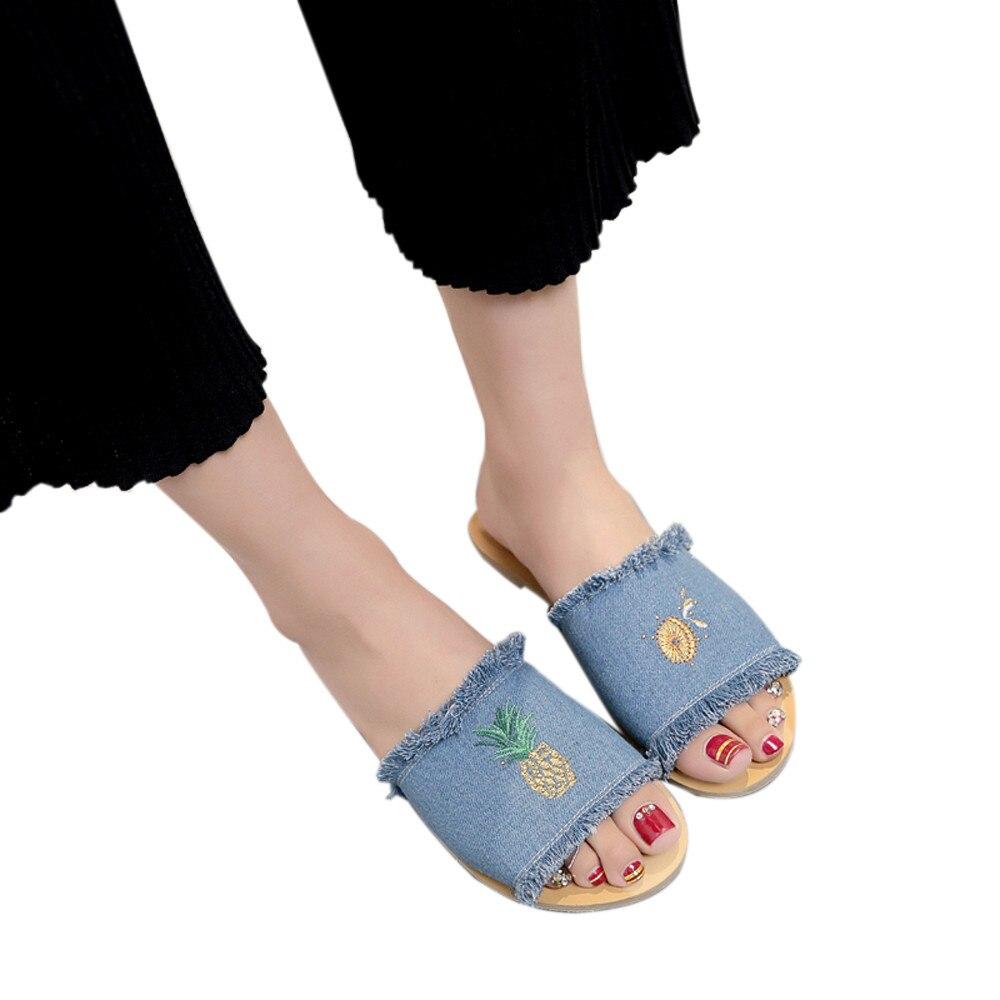 Women Denim Summer Fashion Pineapple Flower Pattern Comfortable Female Slippers Indoor Flip Flops Rubber