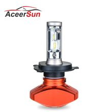 Aceersun 1PCS LED H4 H7 H8 H11 H9 9005 9006 H1 HB3 HB4 9012 Car Headlight Fanless 6500K CSP Chip 8000LM Auto 12V 80W truck 24V(China)