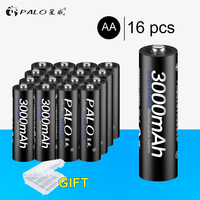 100% PALO Original 16pcs Battery 3000mAh NiMH AA High quality Rechargeable Batteries Toys Cameras flashlights Microphone etc.