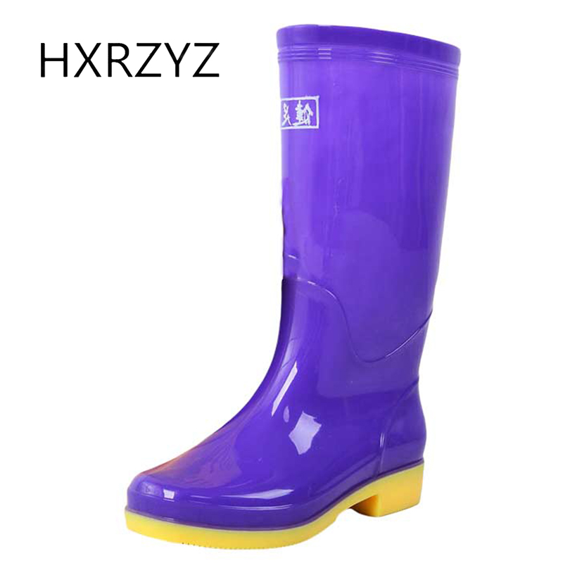 HXRZYZ women rain boots female knee high rubber boots new fashion PVC jelly waterproof Slip-Resistant spring/autumn women shoes hxrzyz big size rain boots new fashion non slip rubber boots waterproof fishing boots in the tube rain shoes women