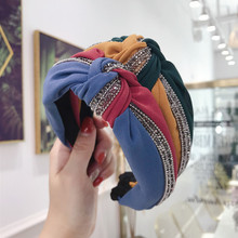 Colorful  Crystal Knot Headbands For Women Bow Hairbands Korea Hair Accessories Flower Bands Head Wrap
