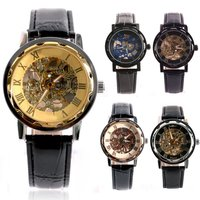 Classic Men S Gold Dial Skeleton Black Leather Mechanical Sport Army Wrist Watch